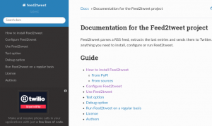 Documentation de Feed2tweet sur Readthedocs