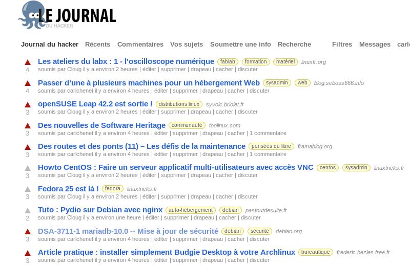 Le Journal du hacker, basé sur le moteur du site lobste.rs sous licence BSD.