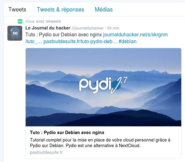 Un retweet automatique depuis @journalduhacker vers @carl_chenet