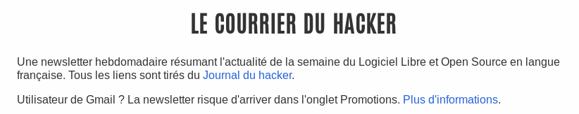 Page d'inscription du Courrier du hacker