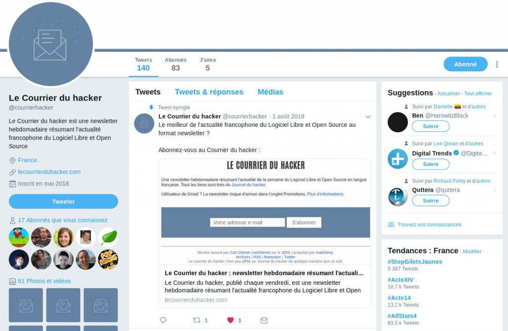 Compte Twitter du Courrier du hacker, la newsletter du logiciel libre