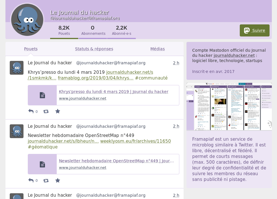 Journal du hacker on the Mastodon social network