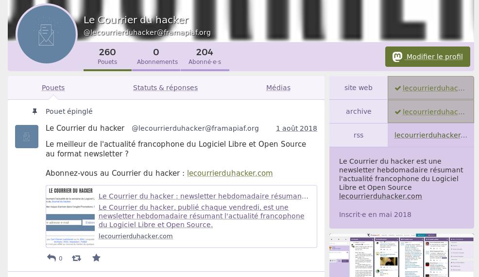 Compte Mastodon du Courrier du hacker
