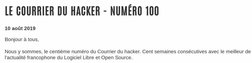 Édito du centième numéro du Courrier du hacker