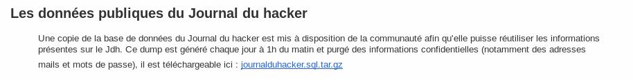 Les données publiques du Journal du hacker