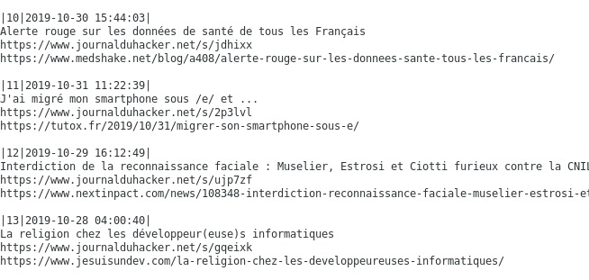 Exemple du script d'aide à la curation de la newsletter du Courrier du hacker