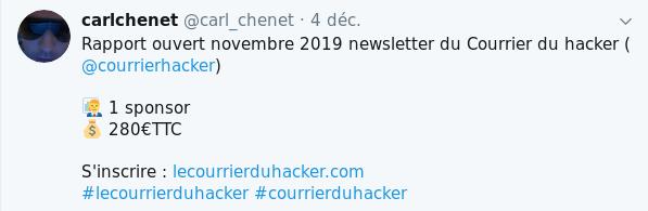 Revenu du Courrier du hacker en novembre 2019